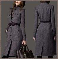 2013 european fashion women's designer winter cashmere trench coat wool ladies maxi long outerwear bow tie belt grey WJ3001