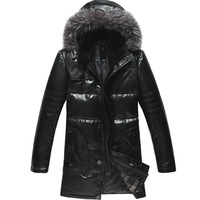 Art Of Living Sale 2013 Mens Winter Genuine Leather Down Coats Leather Jacket Detachable Silver Fox Fur Hood & Mink Fur Collar