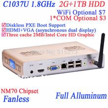 Windows 7 mini pcs with HDMI Intel Celeron C1037U 1.8GHz CPU included 2G RAM 1TB HDD full alluminum chassis directx11 support