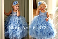 Real Photos 2013 New Round Neck Blue Ruffles Flower Girl Dresses Kids Children Party Girls Pageant Baby Girl Princess Gowns