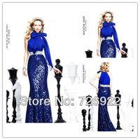 The Most Beautiful Sheath Sequins Chiffon Blue Evening Dress 2013 New Arrival Prom Dress Customsize Free Shipping