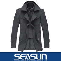 2013 new winter men's jackets men's wool coat woolen coat male jacket and long sections Outerwear Mens Coat Winter Overcoat