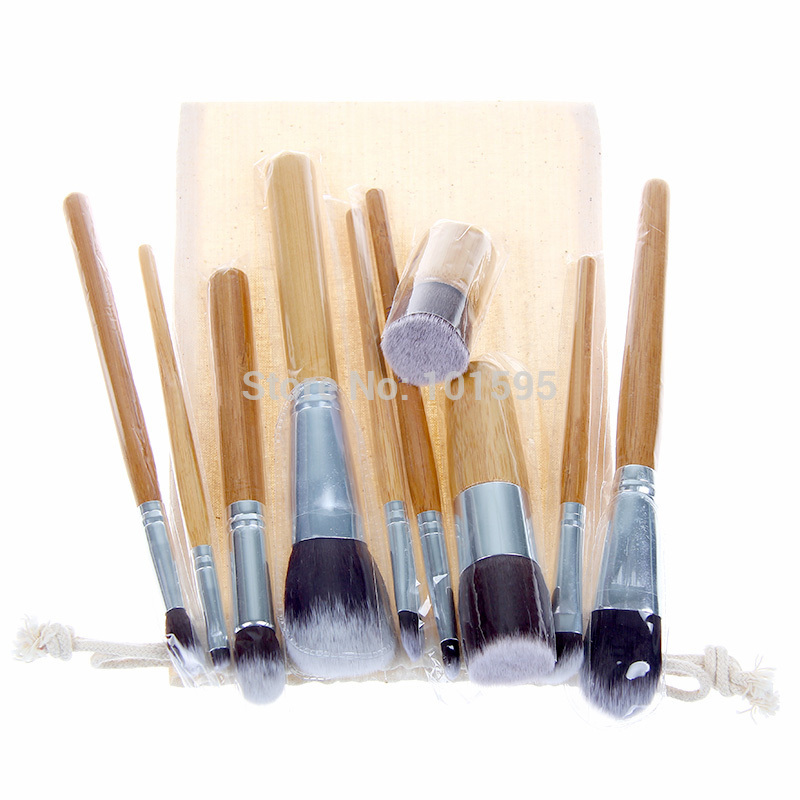 10sets Professional 10 Makeup Brush Set tools Bamboo Handle Synthetic Makeup Brushes Kit make up brush set tools Free Shipping(China (Mainland))