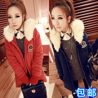 Women's rabbit ears thickening medium-long wadded jacket cotton-padded jacket thickening overcoat winter outerwear