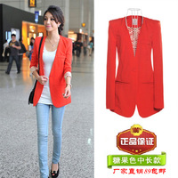 2013 women's medium-long blazer slim long-sleeve V-neck blazer outerwear female