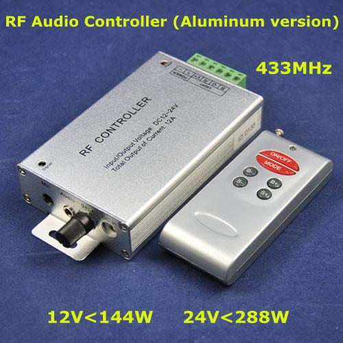 Airmail shipping, DC12-24V 144-288W,3CH Max. 4A,aluminum RF audio led music rgb controller for led strip rigid light,Retail(China (Mainland))