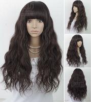 free shipping >>>Healthy Malaysian Curly Imitate Human Remy Hair Full no Lace Wigs NEW medium brown Wig Long Wavy #1B