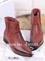 Fashion leather normic color block pointed toe elastic vintage motorcycle boots dress ankle flat boots