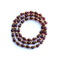 Mousavi natural crystal claretred garnet 925 silver gold plated multi-layer Women accessories