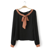 A12-3 bow color block long-sleeve chiffon shirt  Women Chiffon Blouses Shirt