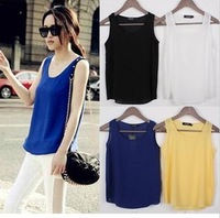 Women's spaghetti strap vest female basic shirt plus size chiffon sleeveless shirt vest small spaghetti strap top