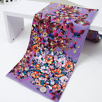 New 2013 100% Pure Mulberry Silk Twill Scarf Luxury Flower Butterfly Scarfs Women Square Scarves Accessories Gift 90x90cm SF0207