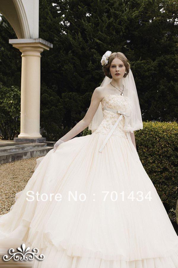 2014 lindo branco sem alças apliques vestido de baile Puffy Organza Custom Made vestido de noiva 131455(China (Mainland))