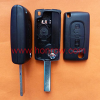 Peugeot 407 blade 2 buttons flip remote key shell ( HU83 Blade-2Button-With battery place )