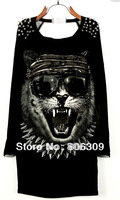 New Arrival Women Tiger Pattern   Back Hollow Mesh Patchwork T-shirt   1887