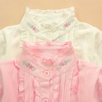 Female child stand collar turtleneck shirt embroidered basic cardigan 100% long-sleeve cotton child t-shirt