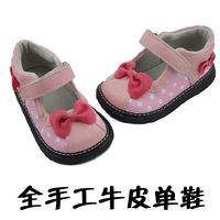 Handmade cowhide single shoes female child genuine leather bow princess leather baby dot soft outsole toddler shoes