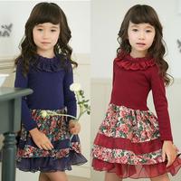 Clothing female child 2013 autumn long-sleeve dress cotton girl 100% 4 - 10  (CC013N)
