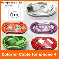 1 m 6 core 30 pin colorful 10 colors USB 2.0 Sync Data Charger Cable for iPhone 4 G S ipad 2 3  high quality Factory cheap price