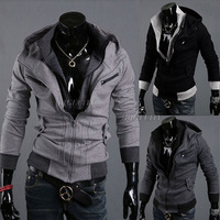 Fashion Winter Warm Mens Casual Double Zip Jacket Hoody Coat Outwear Sweatshirt Hoodies Black Gray M L XL XXL HK Free Shipping