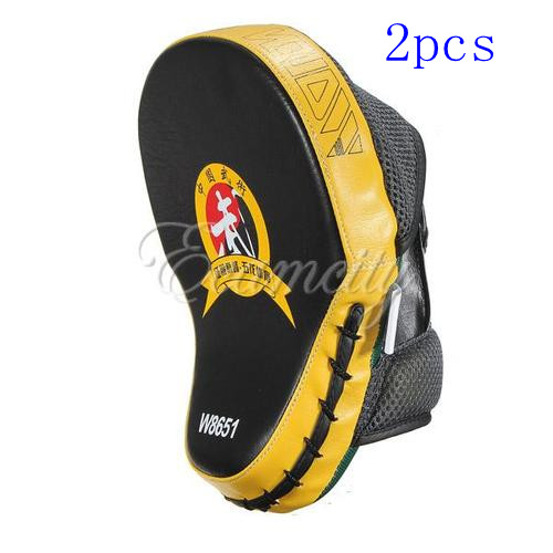 Free Shipping 2pcs/lot New Hand Target MMA Focus Punch Pad Boxing Training Gloves Mitts Karate Muay Thai Kick Fighting Yellow(China (Mainland))