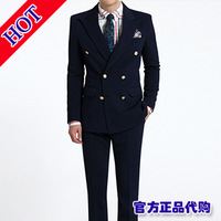 2013 autumn men's clothing casual suit slim fashion double breasted male set suit