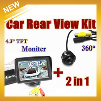 "Free Shipping , 360 degree Universal Reversing Camera+4.3"" TFT Moniter Car Rear View Parking Sensor"