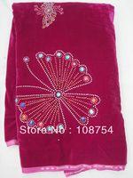 Korea velvet lace, lace fabric,nice stone, hot design, rapa material.fast delivery, V171-1 fushia