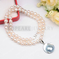 Free Shipping! 6-7mm White Potato Freshwater Cultured Pearls Sterling Silver Mabe Pearl Pendant Necklace FN144