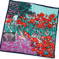 New 2013 100% Pure Mulberry Silk Scarf Oil Painting Silk Scarfs Women Square Scarves Accessories Christmas Gift 90x90cm SF0214
