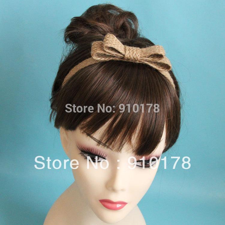 DIY forest hemp rope bowtie headband hair bands rings fashion hair accessory pure handwork original design(China (Mainland))
