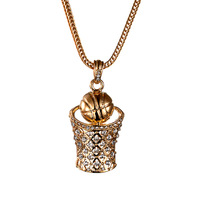 gold color Hip Hop Charm Basketball Hoop Iced pendant necklace Hoop Iced XX137