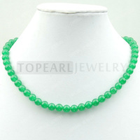 Free Shipping! 8mm Round Green Malaysia Jade Necklace JN046