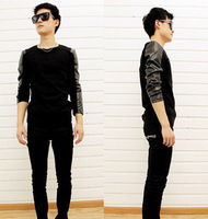 Fashion Men's Korean Personality PU Leather Long Splice Sleeve T Shirt