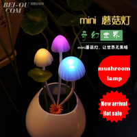 New arrival Bonsai small night light led light control sensor light colorful mushroom baby socket lamp bedroom bedside lamp