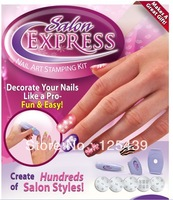 Free shipping(10pieces/lot)Hot and Fashion Salon Express Nail Art Stamping kit as seen on TV easy Nail beauty