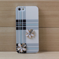 Hot Selling Handwork Luxury Flower Grid Pattern Cell Phone Bag Cases For Apple iPhone 5 Protective Plaid Back Cover With Diamond
