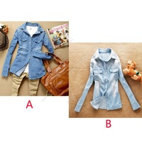 S5H 2014 Women Vintage Blue Jeans Denim Casual Shirt Long Sleeve Loose Tops Blouse Coat