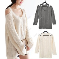 S5H 2014 Women Curved Slouchy Shoulder Cut Out V-neck Long Sleeved Jumper Knitted Sweater