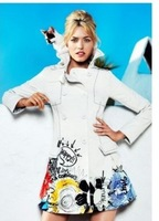 desigual 2013 Autumn Classic white windbreaker jacket and long sections