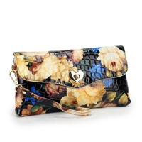 2013 popular fashion flower surface paint half pressure stone lock lady hand bag, inclined shoulder bag # 8020 free shipping