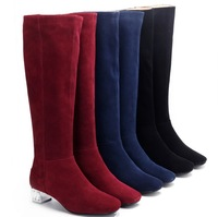 Free shipping 2013 Newest Winter Brand Black Red Suede Knee High Boots,100% Genuine Leather Fashion Women Short Low Heel Boots