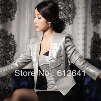 2078 Womens silver colour elegant collarless outerwear slim blazer jacket coat