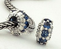 Authentic 925 Sterling Silver Ring Charm Bead with Blue Rhinestone Crystal, Suitable for Pandora Bracelet DIY Making XS032C