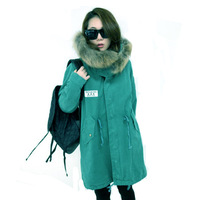Raccoon large fur collar wadded jacket medium-long plus size thickening plus size tooling cotton-padded jacket female preppy
