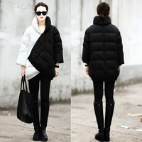 2013 high quality white duck down medium-long down coat thickening color block decoration down coat female