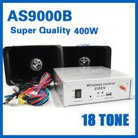 AS9000B  Car alarm service 400w  18Tone  12V wireless wired dual alarm car security system Police alarm  siren sound 18 tones