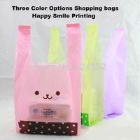 36x16x64cm shopping bags vest bag dot smile figure printing random deliver one color 50pcs/lot  promotional packing plastic bag