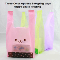 36x16x64cm shopping bags vest bag dot smile figure printing random deliver one color 50pcs/lot  promotional packing plastic bag