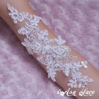 Handmade beading corded lace flower applique wedding dress veil accessories pearl paillette applique motif